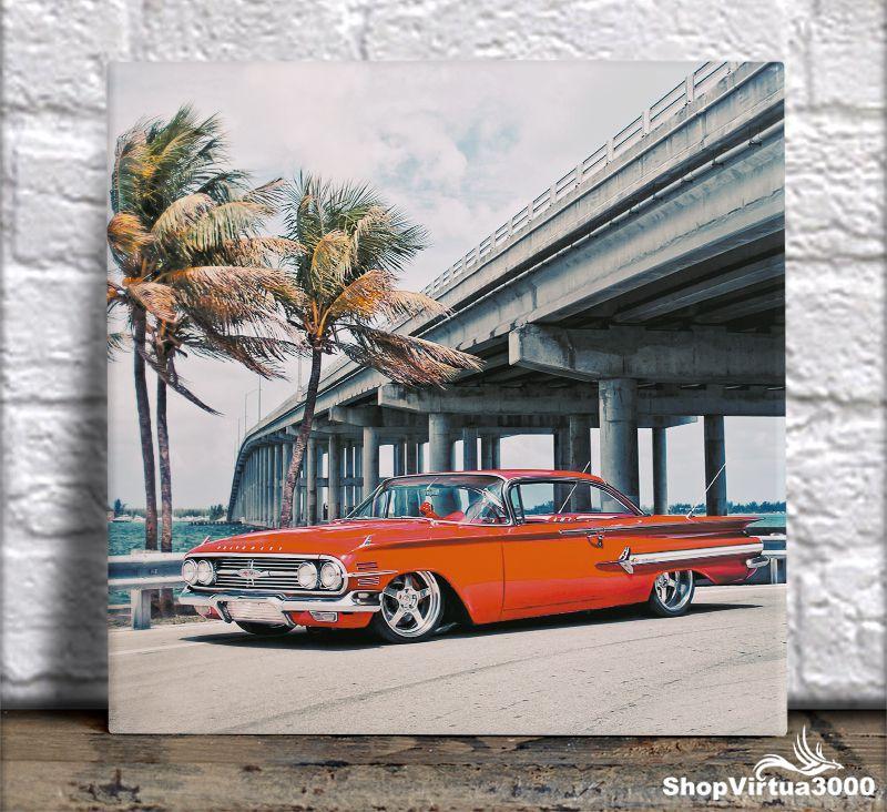 Azulejo Ultra Brilho 15x15cm / 20x20cm Personalizado Chevrolet Impala 1964 Vintage Retro (AL2002 - AL2004) - 01 Unidade