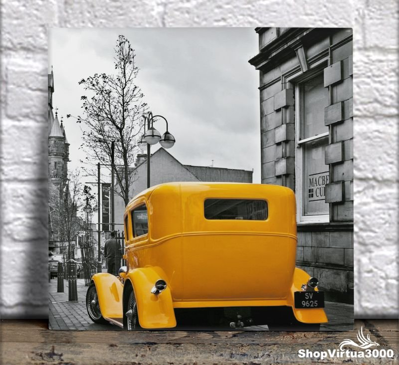Azulejo Ultra Brilho 15x15cm / 20x20cm Personalizado Taxi Vintage (AL2002 - AL2004) - 01 Unidade