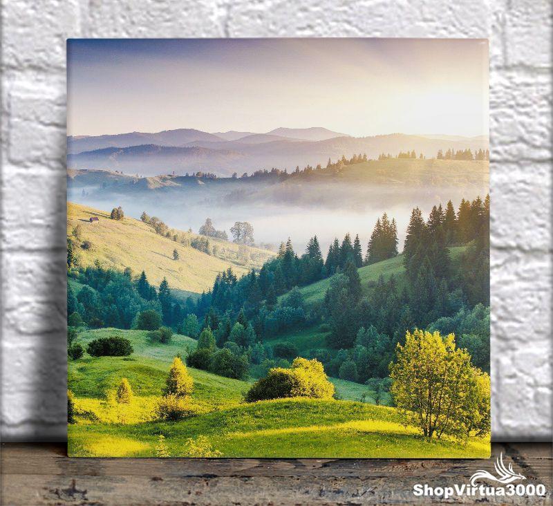 Azulejo Ultra Brilho 15x15cm / 20x20cm Personalizado Primavera Entre Montanhas (AL2002 - AL2004) - 01 Unidade