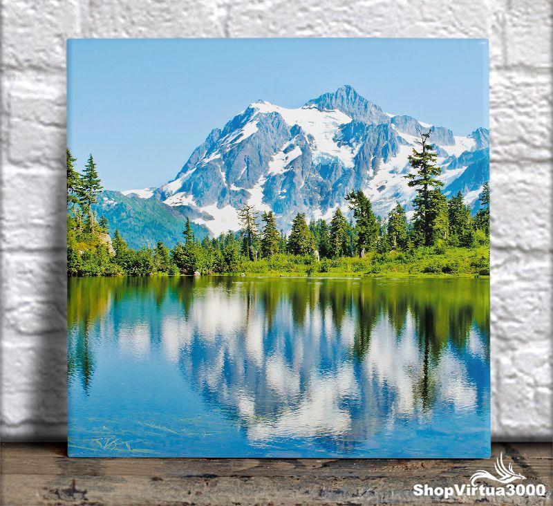 Azulejo Ultra Brilho 15x15cm / 20x20cm Personalizado Montanha em Washington (AL2002 - AL2004) - 01 Unidade