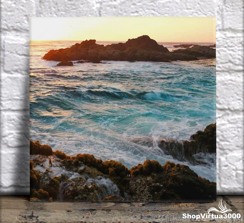 Azulejo Ultra Brilho 15x15cm / 20x20cm Personalizado Pôr do Sol no Mar (AL2002 - AL2004) - 01 Unidade