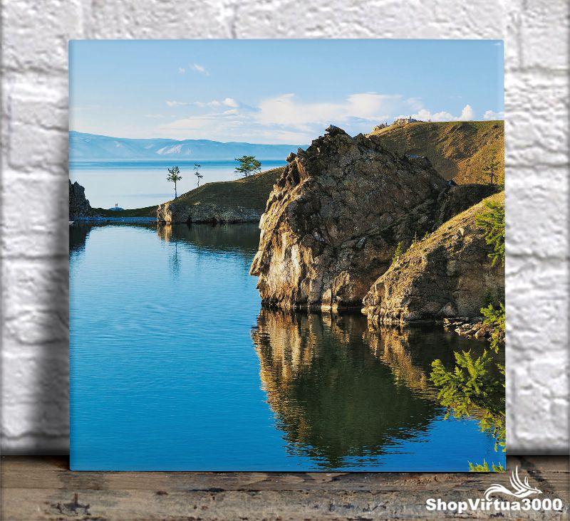 Azulejo Ultra Brilho 15x15cm / 20x20cm Personalizado Lago Paradisíaco na Sibéria (AL2002 - AL2004) - 01 Unidade