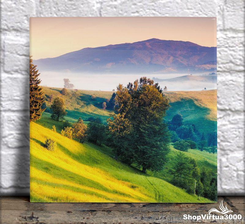 Azulejo Ultra Brilho 15x15cm / 20x20cm Personalizado Neblina Entre Montanhas (AL2002 - AL2004) - 01 Unidade