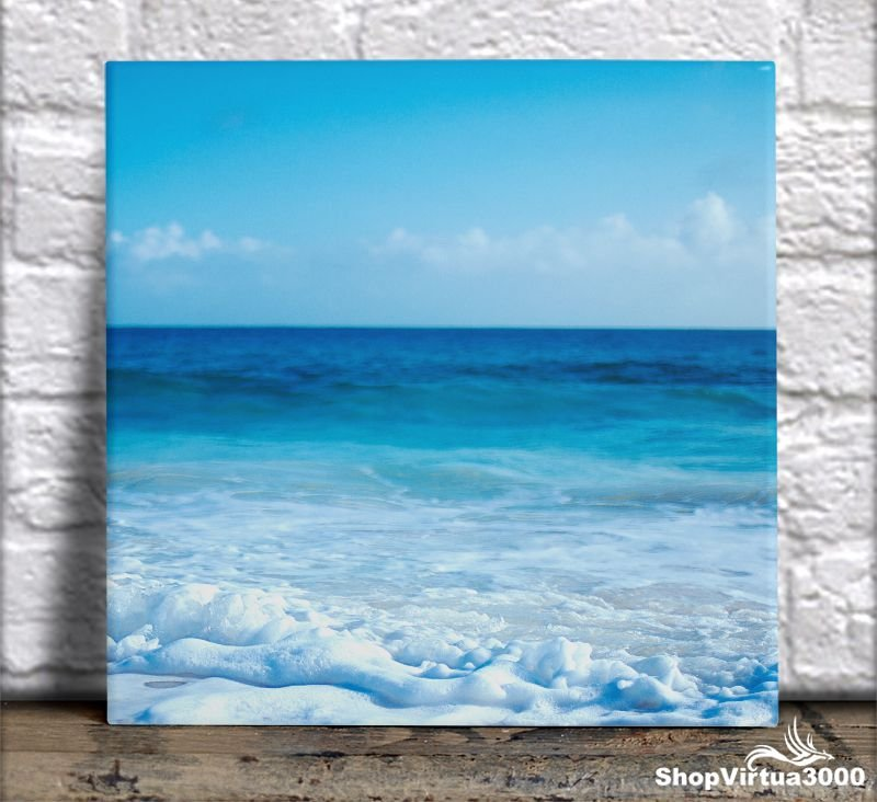 Azulejo Ultra Brilho 15x15cm / 20x20cm Personalizado Espumas do Mar (AL2002 - AL2004) - 01 Unidade