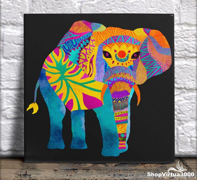 Azulejo Ultra Brilho 15x15cm / 20x20cm Personalizado Elefante Colorido (AL2002 - AL2004) - 01 Unidade