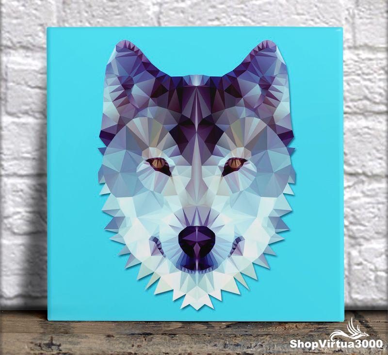 Azulejo Ultra Brilho 15x15cm / 20x20cm Personalizado Lobo Origami (AL2002 - AL2004) - 01 Unidade