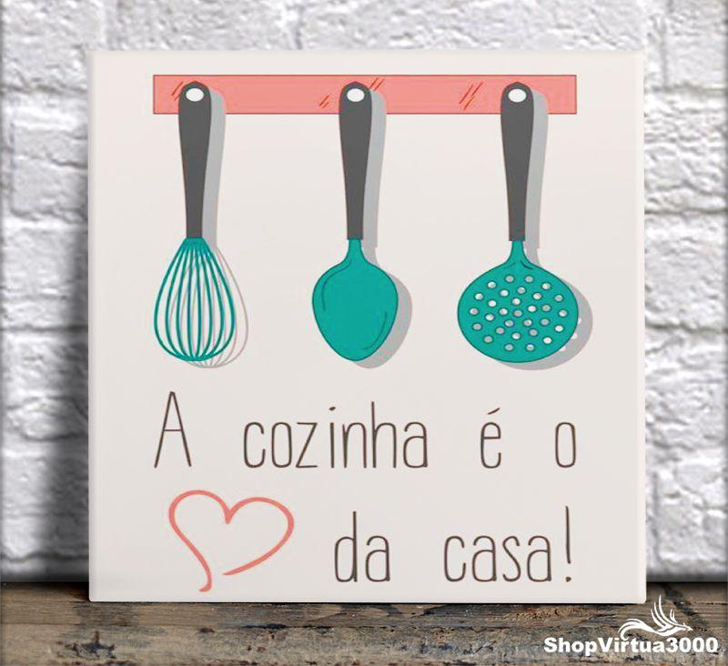 Azulejo Ultra Brilho 15x15cm / 20x20cm Personalizado A Cozinha é o Coração da Casa (AL2002 - AL2004) - 01 Unidade