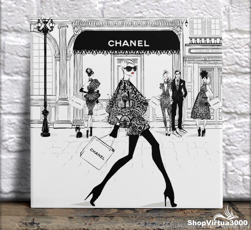 Azulejo Ultra Brilho 15x15cm / 20x20cm Personalizado Chanel Clean Black And White (AL2002 - AL2004) - 01 Unidade