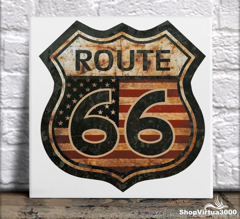 "Azulejo Ultra Brilho 15x15cm / 20x20cm Personalizado Placa Retro ""Route 66"" (AL2002 - AL2004) - 01 Unidade"