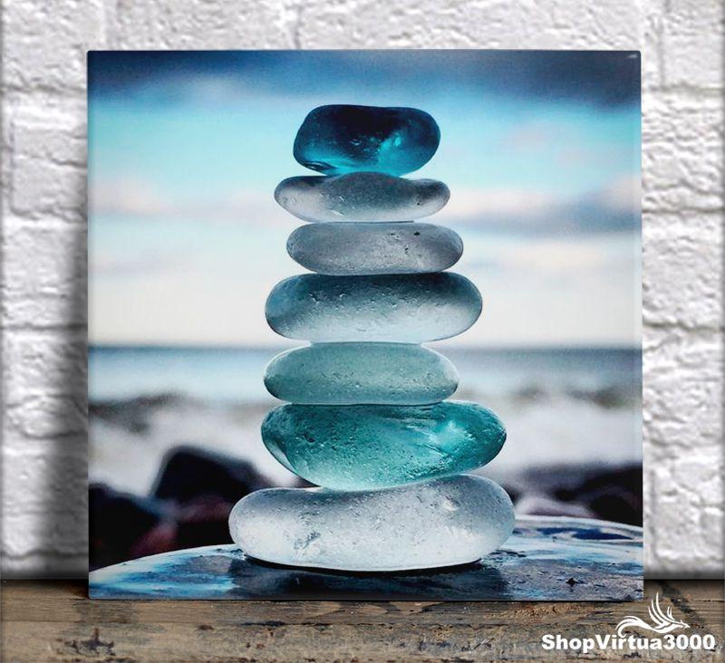 Azulejo Ultra Brilho 15x15cm / 20x20cm Personalizado Land Art Empilhamento de Pedras (AL2002 - AL2004) - 01 Unidade