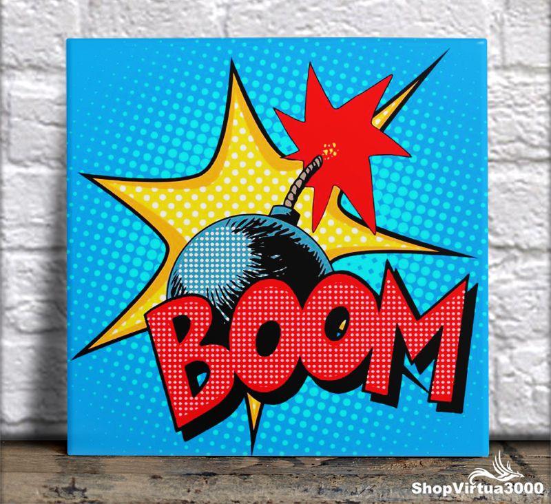 Azulejo Ultra Brilho 15x15cm / 20x20cm Personalizado Boom (AL2002 - AL2004) - 01 Unidade