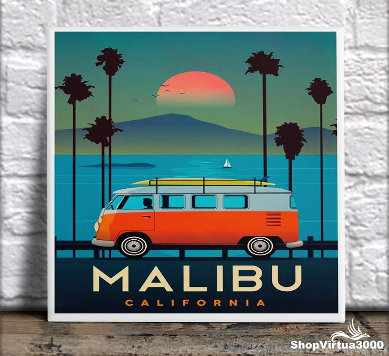 Azulejo Ultra Brilho 15x15cm / 20x20cm Personalizado Surf At Malibu (AL2002 - AL2004) - 01 Unidade
