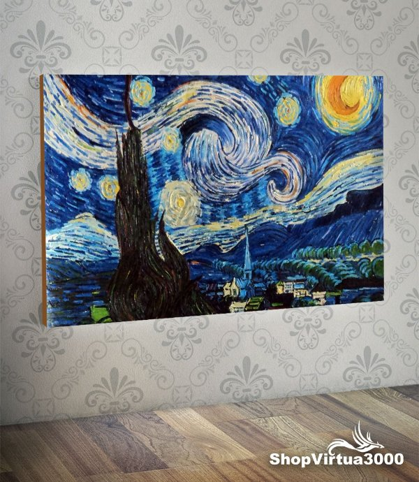 Placa em MDF Horizontal 6mm Ultra Brilho Personalizado Vincent Van Gogh Starry Night (Noite Estrelada) - 01 Unidade