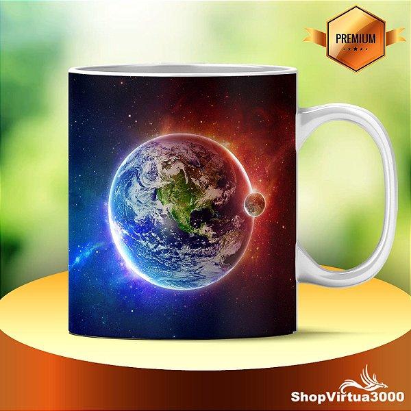 Caneca Cerâmica Classe +AAA Personalizada Planeta Terra Frio/Quente- 01 Unidade