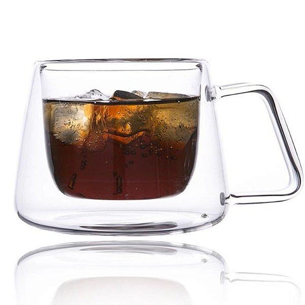 Xícara Vidro Cristal Parede Dupla P/ Café 180ml (Linha Elegance Sublimação) (2707) - 01 Unidade
