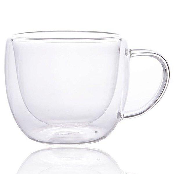 Xícara Vidro Cristal Parede Dupla P/ Chá 170ml (Linha Elegance Sublimação) (2709) - 01 Unidade