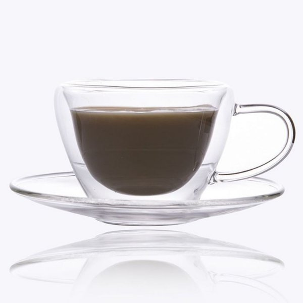 Xícara Vidro Cristal Parede Dupla P/ Café C/ Pires 90ml (Linha Elegance Sublimação) (2716) - 01 Unidade