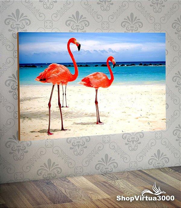 Placa em MDF Horizontal 6mm Ultra Brilho Personalizado Flamingo Modelo 02 - 01 Unidade