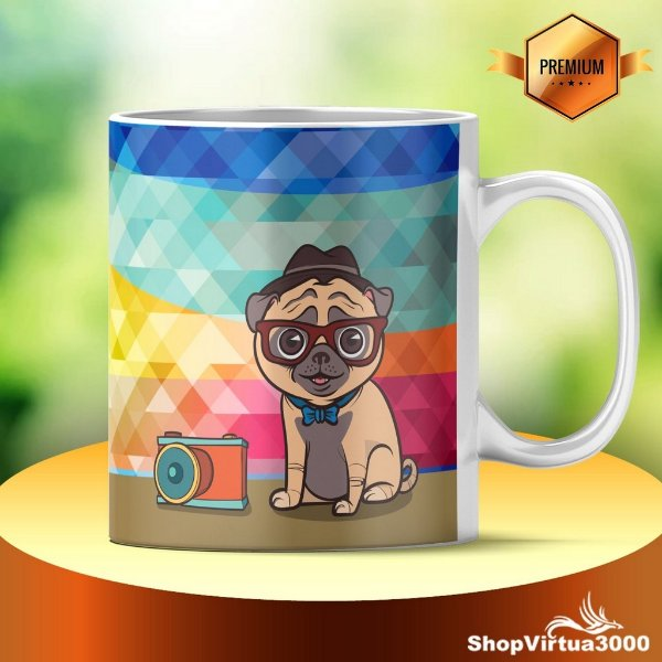 Caneca Cerâmica Classe +AAA Personalizada Pug Life Fotografo - 01 Unidade