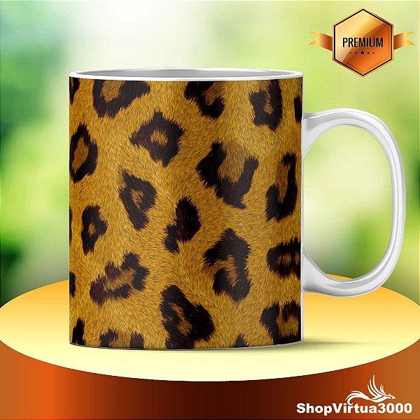 Caneca Cerâmica Classe +AAA Personalizada Textura Leopardo Modelo 01 - 01 Unidade