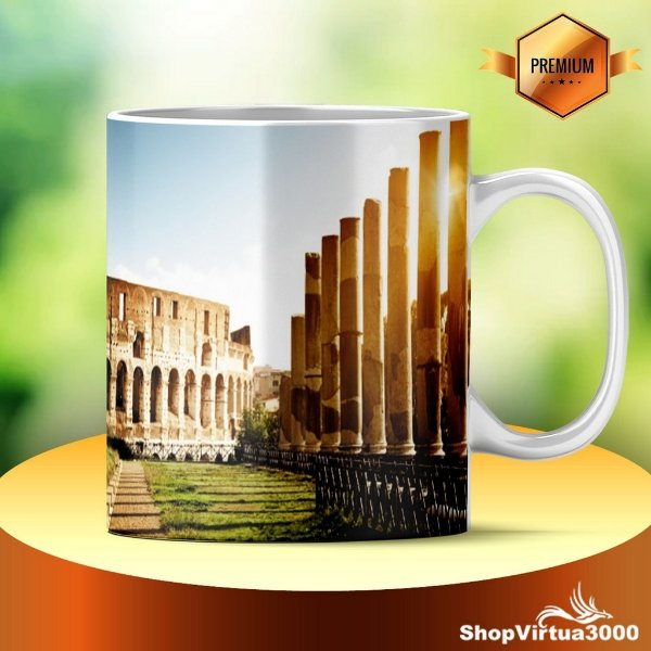 Caneca Cerâmica Classe +AAA Personalizada Anfiteatro do Coliseu Roma Itália - 01 Unidade