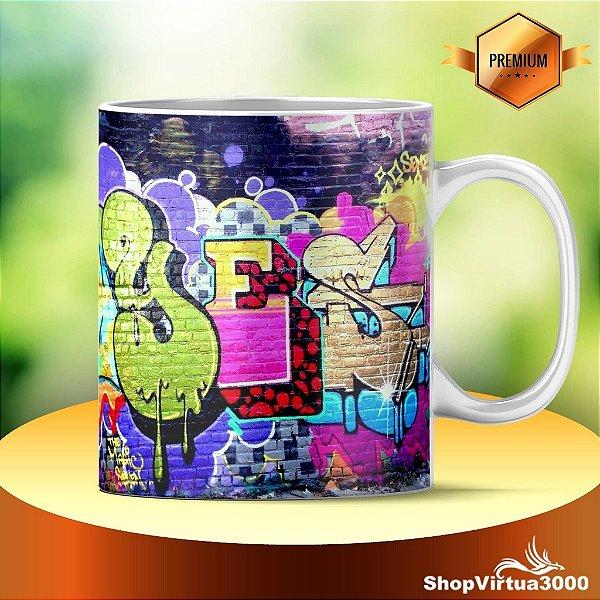 Caneca Cerâmica Classe +AAA Personalizada Parede de Graffiti Colorido - 01 Unidade