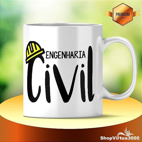 Caneca Cerâmica Classe +AAA Personalizada Engenharia Civil - 01 Unidade