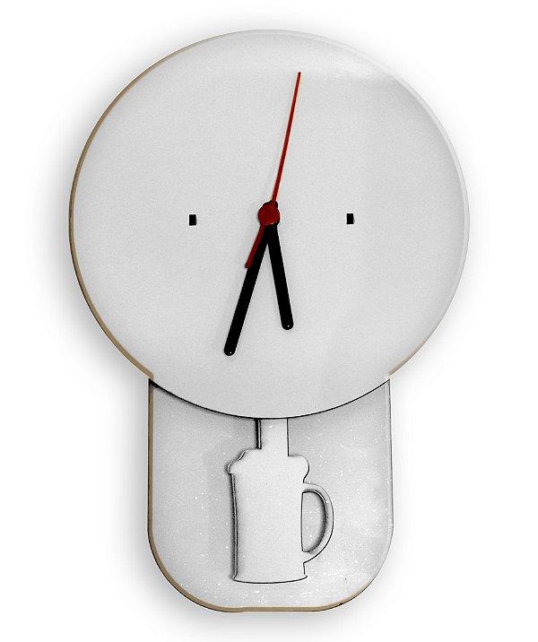 Relógio Modelo Chopp Pendulo Mdf 3mm Branco Resinado para Sublimação Ultra Brilho com Máquina - 01 Unidade (PH1513)