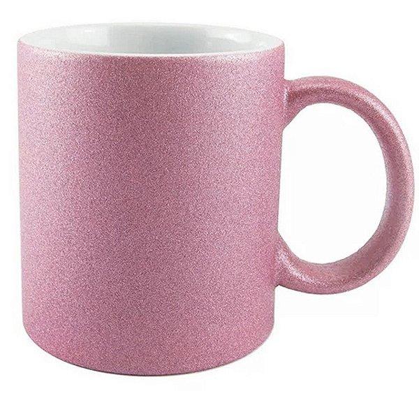 Caneca Cerâmica Glitter Rosa Claro ShopVirtua3000® 325ml Resinada P/ Sublimação (2518) - 36 Unidades (Caixa Fechada)
