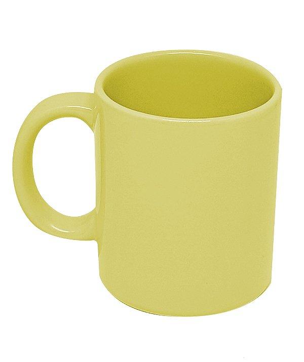 Caneca Cerâmica Amarelo Claro 300ml Nacional Resinada P/ Sublimação - 01 Unidade