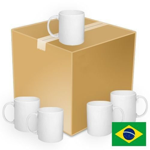 Caneca Cerâmica Branca Classe +AAA Ultra Brilho 325ml Nacional Resinada P/ Sublimação - 36 Unidades (Caixa Fechada)