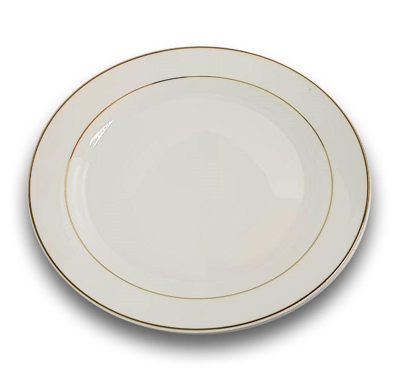 Prato Raso de Porcelana Branco com Borda Dourada para Sublimação 26,5 cm (3047) - 01 Unidade