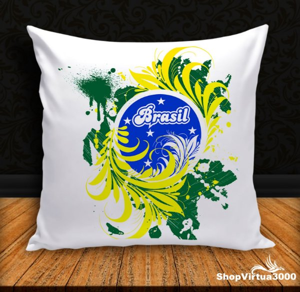 Almofada Personalizada Brasil Artístico (Com Capa Material Oxford + Enchimento) - 01 Unidade
