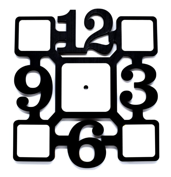 Relógio Quadrado Artístico Mdf Preto 9mm com 05 peças Brancas Resinadas para Sublimação Ultra Brilho com Máquina - 01 Unidade (PH1517)