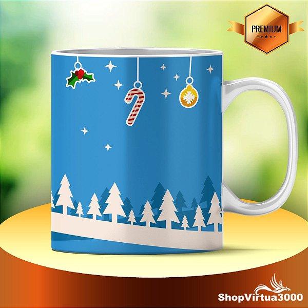 Caneca Cerâmica Classe +AAA Personalizada 325ml Cenário Natal Stickers - 01 Unidade