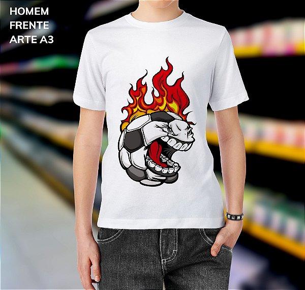 Camisa 100% Poliéster Personalizada Bola de Futebol Flamejante - 01 Unidade