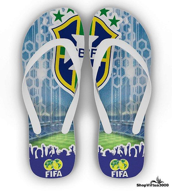 Chinelo Borracha Branco Personalizado Brasil FIFA - 01 Unidade