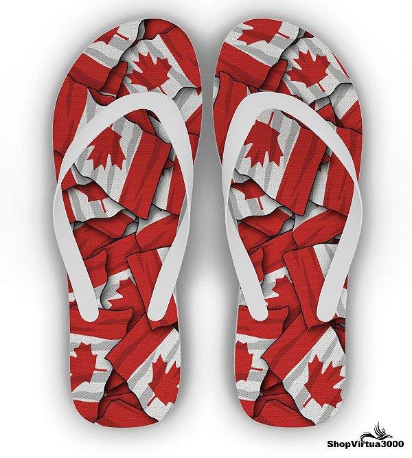 Chinelo Borracha Branco Personalizado Bandeiras Canadá - 01 Unidade