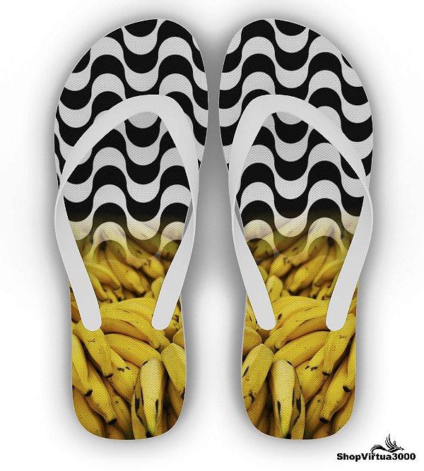 Chinelo Borracha Branco Personalizado Bananas Copacabana - 01 Unidade