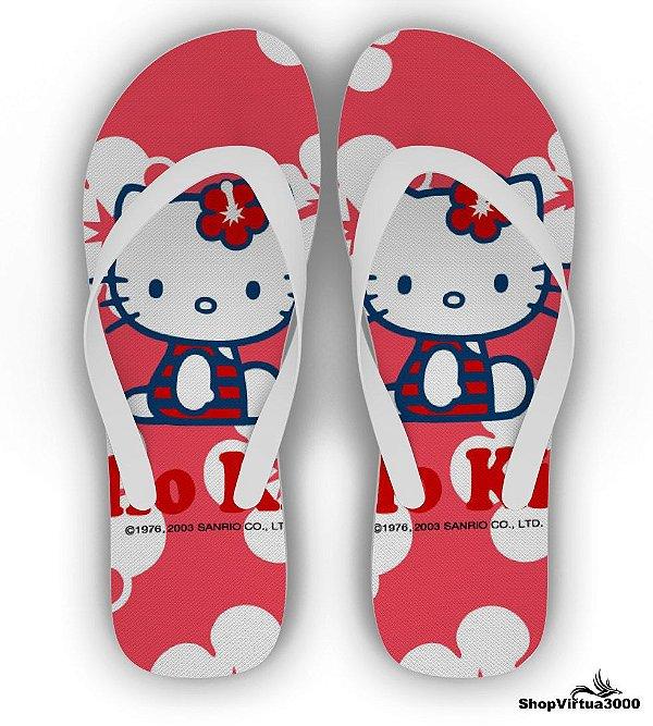 Chinelo Borracha Branco Personalizado Hello Kitty - 01 Unidade