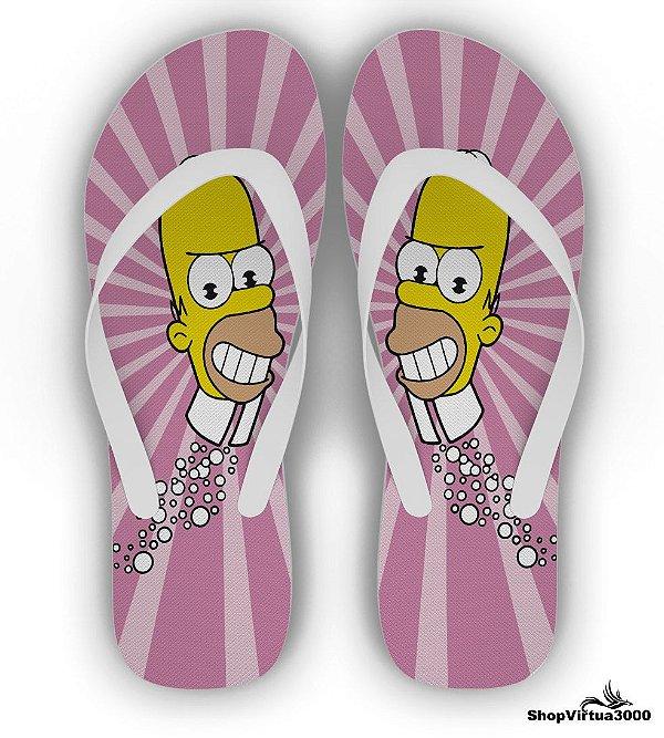 Chinelo Borracha Branco Personalizado Simpsons Modelo 02 - 01 Unidade