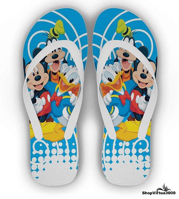 Chinelo Borracha Branco Personalizado Pluto, Mickey e Pato Donald Modelo 01 - 01 Unidade