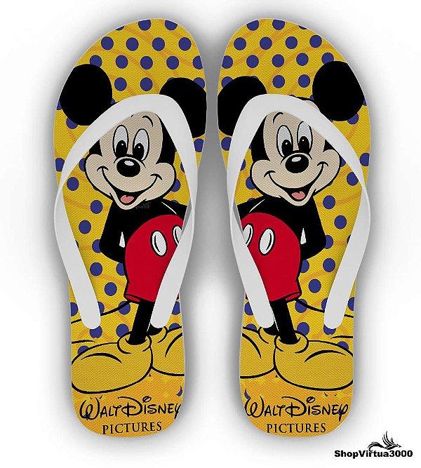 Chinelo Borracha Branco Personalizado Textura Mickey Mouse Modelo 04 - 01 Unidade