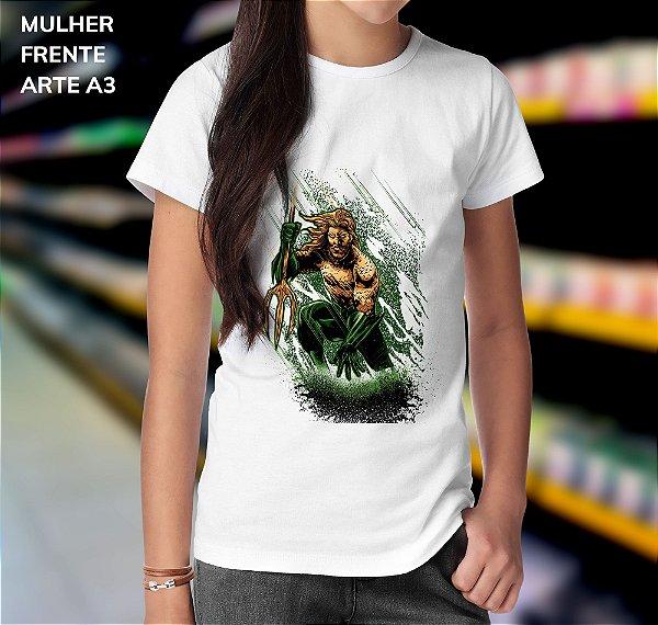 Camisa 100% Poliéster Personalizada Aquaman Arte - 01 Unidade