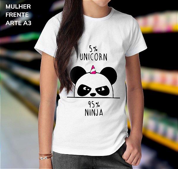 Camisa 100% Poliéster Personalizada 5% Unicorn 95% Ninja - 01 Unidade