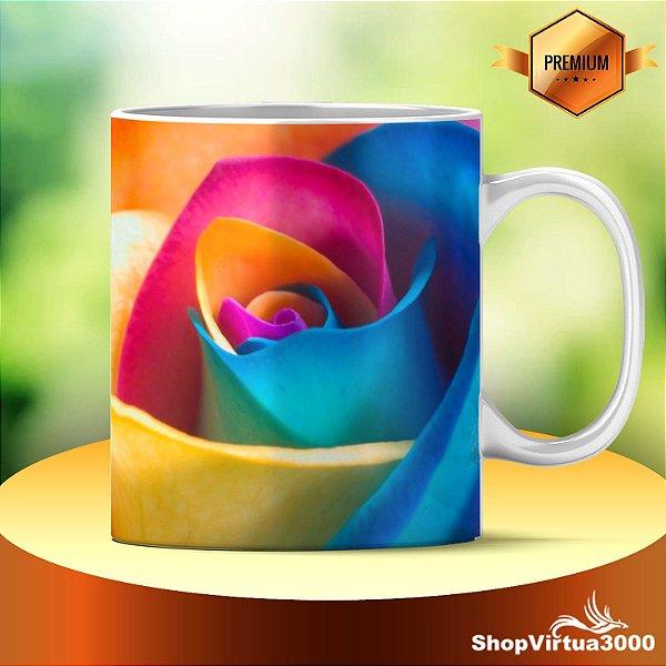 Caneca Cerâmica Classe +AAA Personalizada Flor Multicores - 01 Unidade