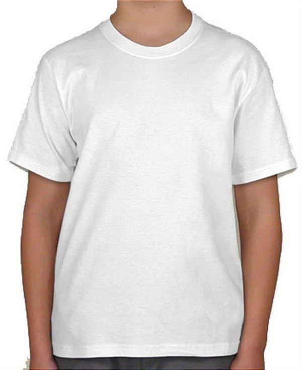 Camisa Tamanho Infantil 08 anos Gola Careca Unissex em Malha 100% poliéster Branca Sublimática (CA1001) - 01 Unidade