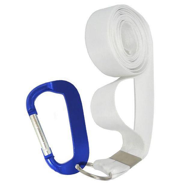 Cordão Sublimático Poliéster Branco Acompanha Argola e Mosquetão Azul (AL024) (Fita Tirante) - 01 Unidade