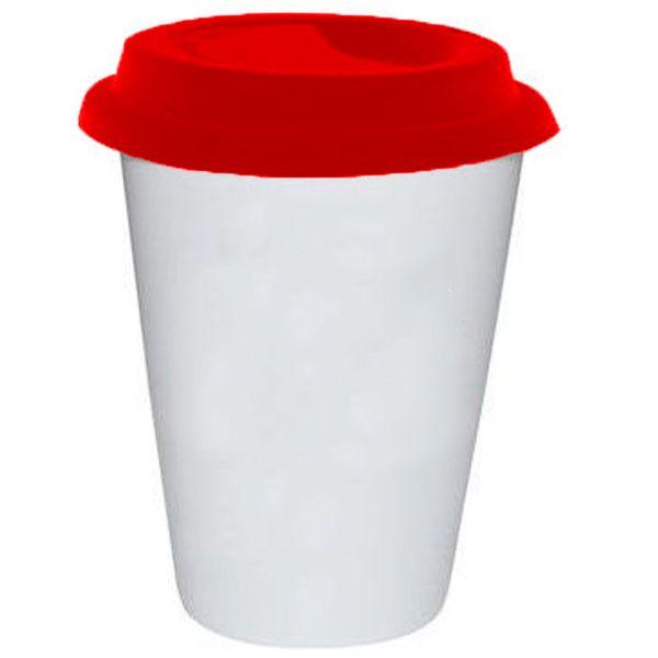 Copo Cônico Branco de Cerâmica Modelo Starbucks 300ml Para Sublimação - Tampa Vermelha - 01 Unidade