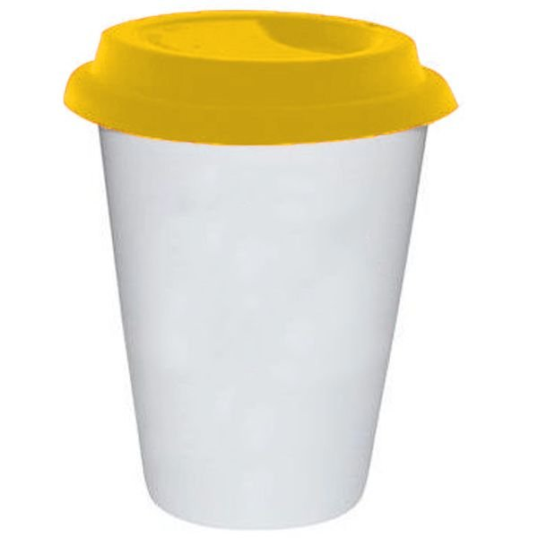 Copo Cônico Branco de Cerâmica Modelo Starbucks 300ml Para Sublimação - Tampa Amarela - 01 Unidade